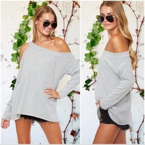 Heather Gray Off the Shoulder Tunic